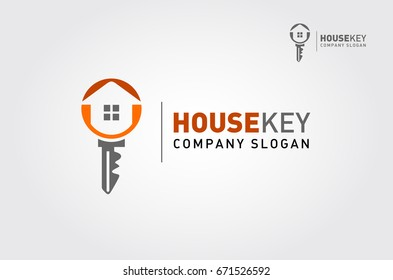 A modern house logo with keys for real estate related business and services. It's made by simple shapes although looks very professional.