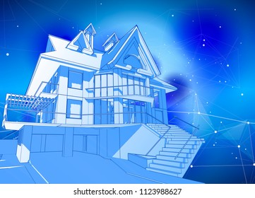 A modern house on a blue background surrounded by digital networks - an illustration of a smart eco-friendly home - the concept of modern information technology smart house or smart city / vector draw