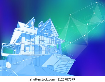 modern house on a blue background surrounded by digital networks - an illustration of a smart eco-friendly home - the concept of modern information technology smart house or smart city. Vector draw