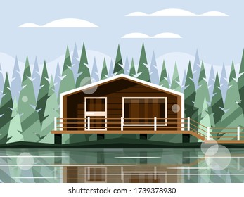 Modern house on the lake against the background of coniferous forest. Beautiful stilt cottage