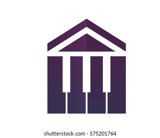 Modern House Real Estate Logo - Music House And Piano Symbol