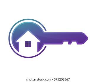 Modern House Real Estate Logo - Key And House