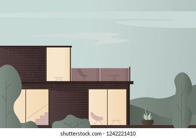 Modern House Vector Illustration