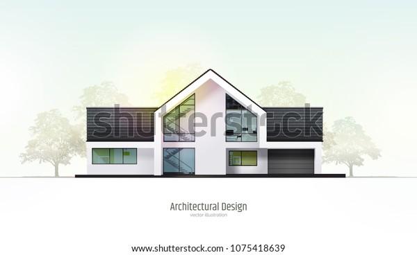 Image vectorielle de stock de Maison moderne, villa, cottage ...
