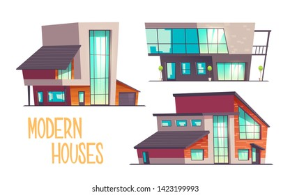 Modern houses cartoon vector set isolated on white background. Contemporary architecture cottage house, mansion, villa two-storey buildings with flat, sloping roof, glass facade, garage illustration
