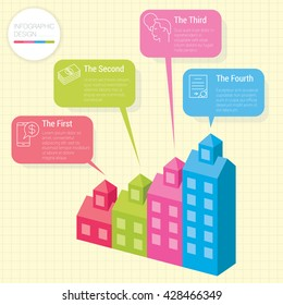Modern houses infographic chart vector mock up.