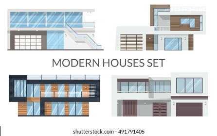 Modern houses set, real estate signs in flat style. Vector illustration