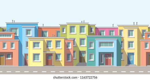 Modern houses in the suburb with street, seamless