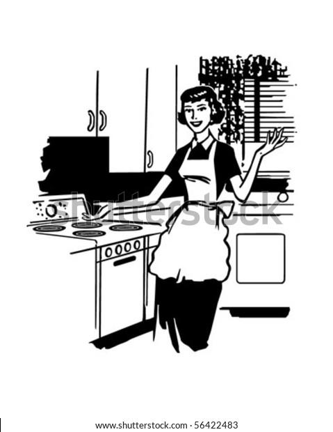 Modern Housewife Retro Clip Art Stock Vector (Royalty Free ...