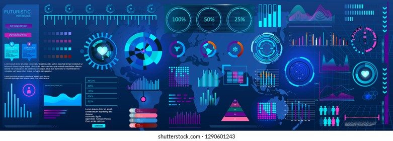 Modern HUD infographic neon futuristic style vector template. Statistics graphs, charts set of elements.