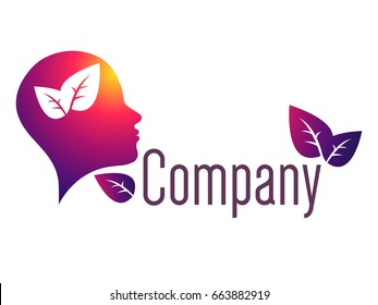 Modern human head logo of Psychology. Creative style. Logotype in vector. Design concept or Brand company. Violet red color isolated on white background. Symbol for web, print, card. Leaves