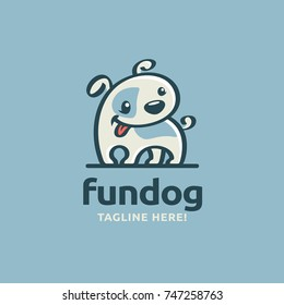 Modern humorous logo template with image of the smiling little dog. Mascot.