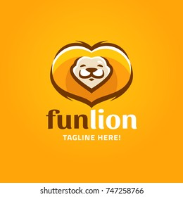 Modern humorous logo template with image of the smiling lion. Mascot.
