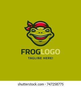 Modern humorous logo template with image of the smiling frog in red bandana. Mascot.