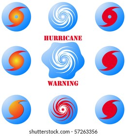 Modern hurricane icon, sign set isolated on white vector