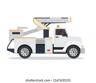 Modern Hydraulic Bucket Truck Illustration In Isolated White Background