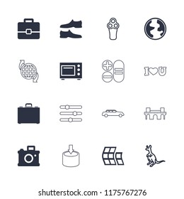 Modern icon. collection of 16 modern filled and outline icons such as man shoe, camera, case, microwave, cangaroo, electric razor. editable modern icons for web and mobile.