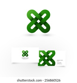 Modern icon design infinity shape element with business card template. Best for identity and logotypes.