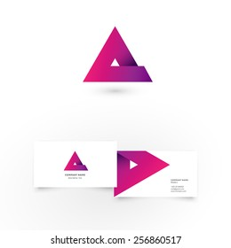 Modern icon design A letter shape element with business card template. Best for identity and logotypes.