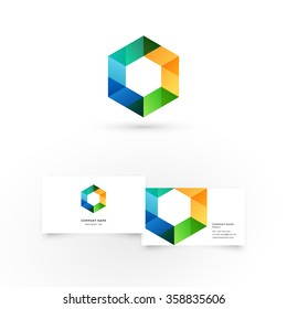Modern icon design logo element with business card template. Best for identity and logotypes. Colorful hexagon