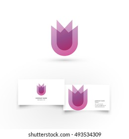 Modern icon design logo element with business card template. Best for identity and logotypes. Tulip.