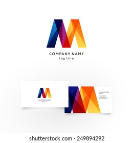 Modern icon design M shape element with business card template. Best for identity and logotypes.