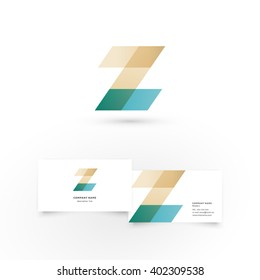 Modern icon design Z letter shape element with business card template. Best for identity and logotypes.