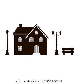 Modern icon silhouette with cozy home, house, cottage, banch and street light. Smart building, black and white color.  Flat design urban landscape.