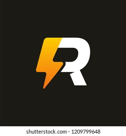 Modern Iconic R Thunder Initial logo designs, Electricity logo template