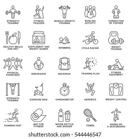 Modern icons set of fitness, exercise, gym equipment, sports, activity, recreation, nutrition. The thin contour lines with color fills.