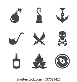 Modern icons set silhouettes of pirate symbols. Pirate symbol collection isolated on white background. Modern flat pictogram illustration. Vector logo concept for web graphics - stock vector
