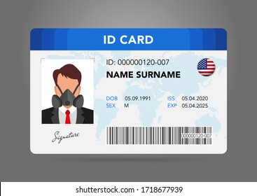 Modern ID card. Photo of a man in a protective mask, a respirator, personal protective equipment. national ID with electronic chip