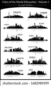 Modern illustrated cities of the World volume 1 vector set of skyline silhouettes with reflections in black and white easy to edit