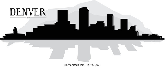 Modern illustrated city of Denver Colorado skyline silhouette with reflection vector graphic in black and white with mountains in the background easy to edit