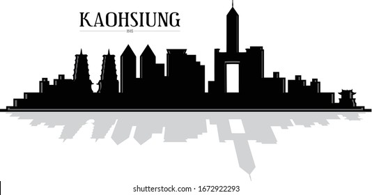 Modern illustrated city of Kaohsiung Taiwan skyline silhouette vector illustration in black and white with reflection easy to edit