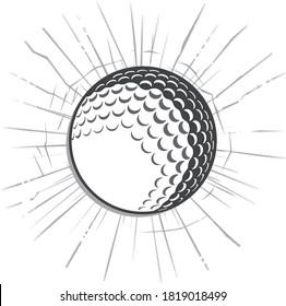 Modern illustrated golf ball breaking through shattered glass or broken wall effect. Illustrator eps vector graphic design.