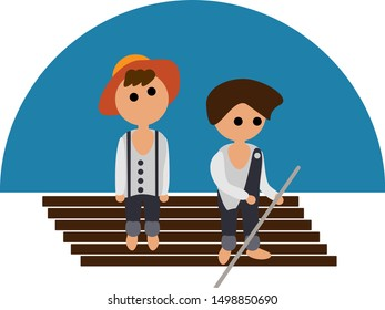 Modern illustration of the adventures of Tom Sawyer and Huckleberry Fin in flat style. Picture for children's books and educational content.