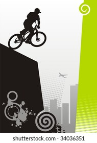 Modern illustration with the bicyclist. It carries out a dangerous trick. On a distance shot skyscrapers are visible.