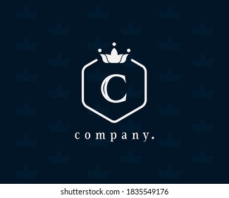 Modern illustration Crown with symbol C and hexagon luxury logo design icon template elements. Emblem for book design, brand name, business card, Restaurant, Boutique, Hotel and wedding invitation.