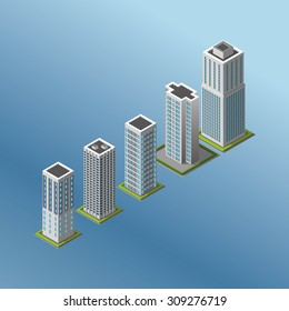 Modern illustration of an Isometric Buildings set. 3d buildings icon.