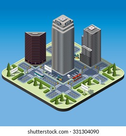 Modern illustration of an Isometric Buildings set in downtown. Isometric city. 3d buildings icon. Transport infrastructure.