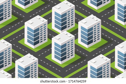 Modern illustration seamless pattern for design game and business shape background Isometric module city from urban building vector architecture.
