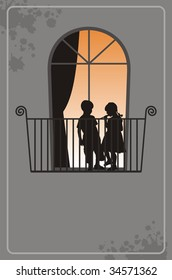 Modern illustration with silhouettes of children. On a balcony there is a boy and the girl. Behind a window light burns.