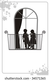 Modern illustration with silhouettes of children. On a balcony there is a boy and the girl. Behind them the window with a curtain is located.