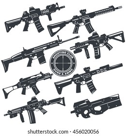 Modern illustration of various assault rifles. Vector EPS10