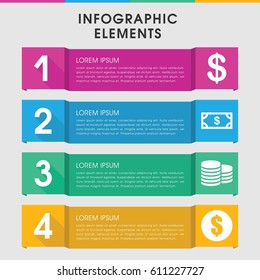 Modern income infographic template. infographic design with income icons includes Coin, Money. can be used for presentation, diagram, annual report, web design.