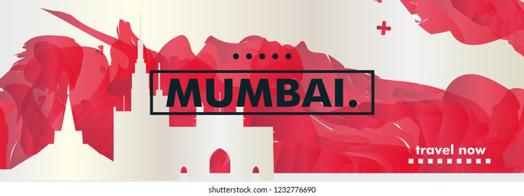 Modern India Mumbai skyline abstract gradient website banner art. Travel guide cover city vector illustration