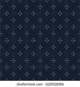 Modern indigo blue argyle plaid pattern repeat check motif. Ditsy floral ornament. Simple geo all over print block for apparel textile, patchwork fabric, fashion garment, flannel shirt, wrapping cloth