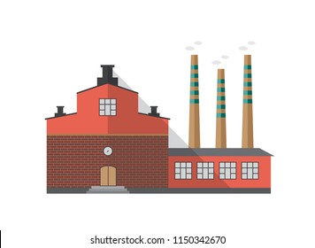 Modern industrial brick building of factory with pipes emitting smoke isolated on white background. Front view of centralized heating plant. Cartoon colorful vector illustration in flat style.