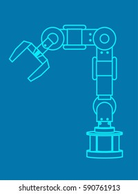Modern Industrial robotic arm for assembly line outline vector